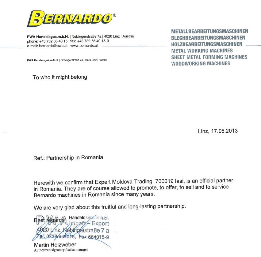 ebernardo distribuitor autorizat romania expert moldova trading